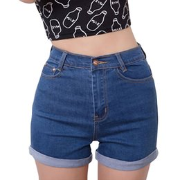 Wholesale High Waisted Denim Shorts Fashion - Wholesale- Casual 2017 Summer Vintage High Waisted Denim Women Shorts Plus Size Slim Stretch Turn Ups Cute Female Jeans Shorts Waist