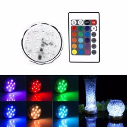 Wholesale Rgb Ip67 - Wholesale- 4pcs 10leds RGB LED Underwater Light IP67 Waterproof Swimming Pool Light LED Submersible for Party Piscina Pond + Remote Control