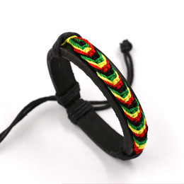 Wholesale Rainbow Cuff - Jamaica Reggae Four Color Rainbow Rope Handmade Knit Leather Bracelets Jewelry Unisex Hippie Cuff bracelet Wristband Infinity bracelets