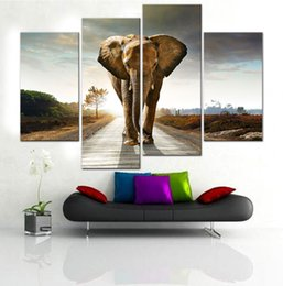 Wholesale Elephant Oil Canvas Painting - 4 Panel Modern Art Oil Paintings Big Elephant Walk Canvas Paintings for Wall Hanging Art Decoration
