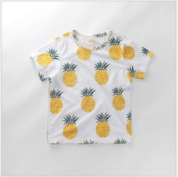 Wholesale Canvas Brand T Shirts - 2018 Summer Children Pineapple Short Sleeve T-shirt Fashion Boys Girls Cotton Casual T-shirts Kids Clothing Cute Baby Tops 80-120cm 5pcs lot