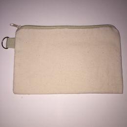 Wholesale Mobile Phone Pencil - 20pcs lot cotton canvas cosmetic Bags women blank plain zipper makeup bags Mobile phone clutch bag organizer cases pencil pouches