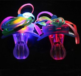 Wholesale Whistle Led Party - Led Pacifier Whistle Light Necklaces Nipple Flashing Kids Toy For Christmas Bar Party Toys YH1110