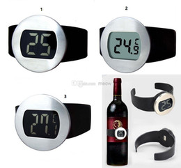 Wholesale Digital Red Wine Bottle Thermometer - Red Wine Bottle Thermometer Wine Watch Celsius Fahrenheit Degree Display Stainless Steel Electric LCD Digital Temperature