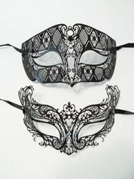 Wholesale Men Venetian Laser Cut - Wholesale- 1 Set Black Metal Laser Cut Venetian Masquerade Men Woman Couple Mask Set Rhinestones Shows Mardi Gras Wedding Party Masks Lot