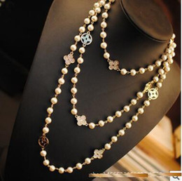 Wholesale Pearls Pendant - leaf luxury designer free lady Perfume bottles CC jewelry number 5 famous brand neckless long necklace collares women sweater pearls