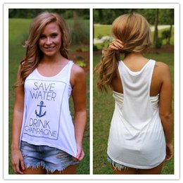 Wholesale Women S Anchor Clothing - Summer New Vest For Women Clothes SAVE WATER DRINK CHAMPAGNE Boutique Tank Top Anchor Print Camis