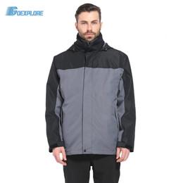 Wholesale Waterproof Overcoat - Wholesale-Dropshipping Brand outdoor 3in1 Coat Jacket Men Winter Hunting Clothes Windproof Hiking Jackets Coat Camping Overcoat