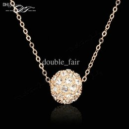 Wholesale Gold Filled Ball Chains - Lucky Ball 18K Rose Gold Pated Charms Necklaces & pendants Fashion Jewelry For Wonem Gifts Crystal Chains colares DFN252