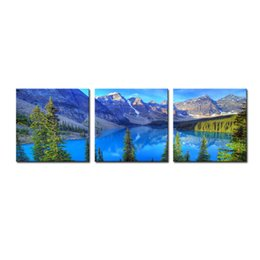 Wholesale oil painting mountains landscape - Wall Art Canvas Decor Landscape Painting Water Mountain And Pine Trees Landscape Hanging Decoration Paintings for Home Living Pictures Decor