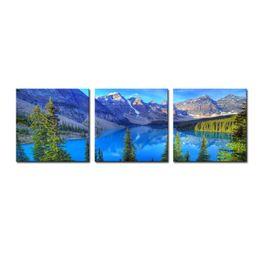 Горные картины онлайн-Стены искусства холст декор пейзаж живопись вода горы и сосны пейзаж висит украшения картины для дома Живые картины декор