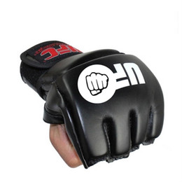 Wholesale Muay Thai Leather Gloves - Boxing Gloves MMA Gloves Training Half Mitts Kickboxing Gloves Muay Thai Boxing Equipment MMA Boxer Fight Mitts PU Leather Black