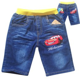 Wholesale Wearing Jeans Summer - 2016 Boys girls clothing Jeans five pants Capris trousers cartoon car kid clothes children wear Summer