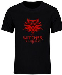 Wholesale Orange Hunting Shirts - Game The Witcher 3 T Shirts Men Clothing 100% Cotton Short Sleeve O-neck Tee Wild Hunt T-shirts Summer Fashion Tops
