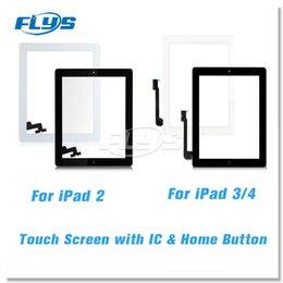 2019 samsung tab branco Para ipad 2 3 4 substituição do conjunto do digitador da tela de toque com botão home IC do cabo do cabo flexível e adhensive livra DHL