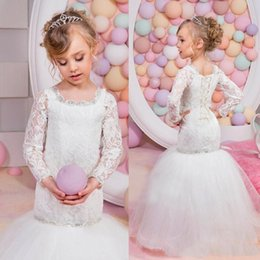 Wholesale Cute Gowns For Kids - 2016 Cute Kids Mermaid First Communion Dresses Ivory Lace Long Sleeves New Beaded Crystal Scoop Birthday Party Gowns for Children Weddings