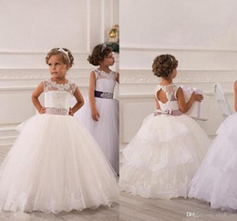 Wholesale Hand Embroidery Baby - 2016 Spring Flower Girl Dresses Vintage Jewel Sash Lace Net Baby Girl Birthday Party Christmas Communion Dresses Children Girl Party Dresses