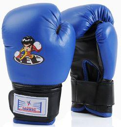 Wholesale Age 13 - Age 4-13 Colors Red Blue Child Boxing Gloves Wushu Fighting Muay Thai Sanda MMA Training Cartoon Boxing Gloves For Kids Luva Box