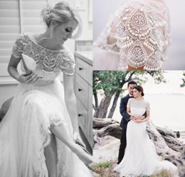 Wholesale Winter Simple Style - New Arrival 2016 Stunning Bateau Neck Short Sleeves Beading Crystal Lace Wedding Dresses Sheer Tulle Floor Length Country Style Bridal Gowns
