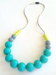 Wholesale Necklace Beads For Baby - Beautiful Gumball Beads Silicone Teething Necklace Mix Color Necklace for Baby Chew Baby Nursing Necklace Jewelry Safe Silicone Round Beads