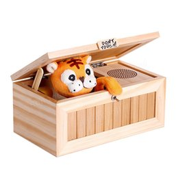 Wholesale Funny Desks - Wholesale- 20 Modes Funny Toy Gift Upgrade Wooden Electronic Useless Box with Sound Cute Tiger Stress-Reduction Desk Decoration