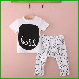 Wholesale Colorful Rompers - Boss letter baby rompers white black colorful lovely fashion outfits short t-shirt long pants toddler clothing sets free shipping
