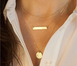 Wholesale Alloy Geometric Necklace - Metal sequins short necklace Collarbone chain fashion accessories pendant necklace multilayer necklace geometric short necklace silver gold