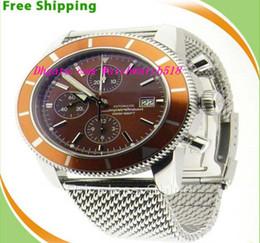 Wholesale Bb Bracelet Gold - Equipped Luxury Wristwatch Original Box Brand BB Super Diving A13320 Chronograph Orange Dial & Bezel On Bracelet Mens Men's Watch Watches
