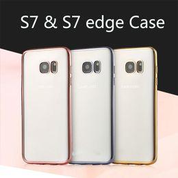Wholesale Note Chrome Case - For Samsung Galaxy S7 S6 edge plus S5 Note 5 J1 J5 J7 Chrome Bumper Transparent Clear Soft TPU Gel Case Cover Electroplate