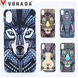 Wholesale Owl Phone Cases - Forest King Case for iPhone X Animals Lion Wolf Owl Pattern PC Hard Glow In The Dark Luminous Phone Case Cover