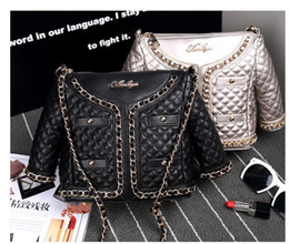 Wholesale Zipper Pu Leather Women Jacket - 2017 Amliya diamond lattice chain clothes model bag single shoulder female leather jacket type Handbags Fashion Personalized Shoulder Bags