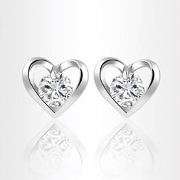 Wholesale Small Rhinestone Earrings - Elegant Women Zircon Earrings Korean Heart Stud Earrings Vintage Silver Gold Plated Fashion Small Jewelry boucle d'oreille