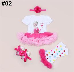 Wholesale Tutu Lace Leg Warmer - Baby Christmas Romper Dresses Kids Girls Birthday Romper + Ballet Leg Warmer + Chevron Walking Shoes + Headband 4pcs Outfits Infant Sets
