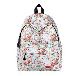 Wholesale Blue Lying - Olandstar Flower Priinted Student Backpack Undergraduate School Bag Lay Women Girl Bags Nylon Bookbag Bag Travel Backpacks KBB075