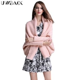 Wholesale Long Sleeve Casual Shrugs - Wholesale- Uwback 2016 New Brand Winter Wool Sweater Women Thick Pink Cardigan Femme Autumn Shrug Sweaters Batwing Sleeve Mujer OB160
