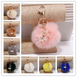 Wholesale Ballerina Keychain - Faux Rabbit fur Girl Women Fur Ball Rhinestone Ballerina Keychain Ballet Dancing Girl Handbag Accessories Car Key Chain For Bag