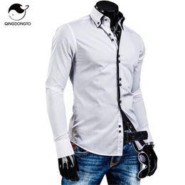 Wholesale Mens White Dress Shirt Buttons - Men Shirt Luxury Brand 2016 Male Long Sleeve Shirts Casual Solid Multi-Button Hit Color Slim Fit Dress Shirts Mens Hawaiian XXL