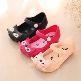 Wholesale Baby Sandles - Mini Melissa Girl Shoes Cat Baby Jelly Shoes Sew Plain Rain Boot Toddler Kids Shoes Children Beach Sandles Princess Shoes Sapato