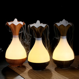 Wholesale Atomizers Led - New Arrival ! ! ! LED Vase Shaped Humidifier Ultrasonic USB Aroma Mist Maker Air Diffuser Purifier Lonizer Atomizer Night Lamp Humidifiers