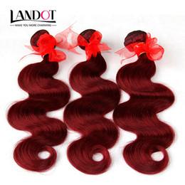 Wholesale Cheap Wholesale Wines - Burgundy Brazilian Virgin Hair Weave Bundles Brazilian Body Wave Wavy Hair 3Pcs Lot Wine Red 99J Cheap Human Hair Extensions Tangle Free
