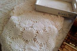 Wholesale Crochet Napkins - Wholesale- 2pcs 28CM Cotton Yarn Hand Crochet Lace Round Placemat napkins