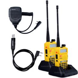 Wholesale Baofeng Radio Mic - 2pcs BaoFeng UV-5R Walkie Talkie Baofeng Two way Radio Accessories VHF UHF Dual Band 136-174 400-520 1X Speaker Mic+1X Cable