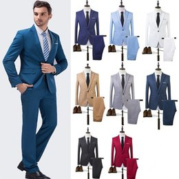 Wholesale Best Blazers Men - Top Brand Spring 2016 Business and Leisure Blazers A Two-piece Suit The Groom's Best Man Wedding M-3XL CL043