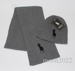 Wholesale Winter Scarf Free Shipping - Free Shipping Winter 2 pcs set 1 hat + 1 scarf hot brand polo women beanies pom-pom skull caps hats Scarves Sets