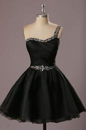 Wholesale One Shoulder 15 Dresses - Short Homecoming Dresses Cheap 2017 Vestidos De Festa De 15 Anos Curto One Shoulder Black Cocktail Party Dress