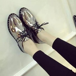 Wholesale Oxford Lace Up Shoes Girl - Wholesale- British Style Rivet Side Shoes Autumn And Winter For Women Patent Leather Lace Up Girls Oxford Rhinestone Mental Color Mujer