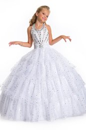 Wholesale Sparkling Red Wedding Dresses - 2016 New Girl's Pageant Dresses High Halter Crystal Sequins Soft Sparkling Tulle Ball Gown Birthday Wedding Kids Flower Dresses