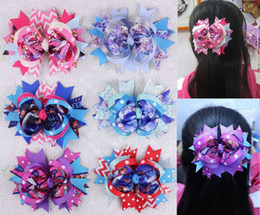 Wholesale Girls Big Flower Headbands - 50pcs 5'' big boutique fun girls frozen hair accessor hair bows flower clips popular hair bows clips character flower free shipping HD3237