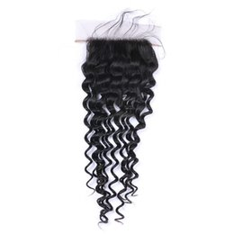 Wholesale Pure Silk Stockings - Deep Curly Silk Base Closure Unprocessed Human Hair Brazilian Indian Malaysian Peruvian Natural Color 8-22inch in Stock DHL Free Shipping