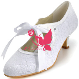 Wholesale Ivory Bow Kitten Heels - Brand New Cheap Shoes Lace Heels Bridal Shoes Round Toe Wedding & Party Shoes WS0125W Customise Size 33 to 43